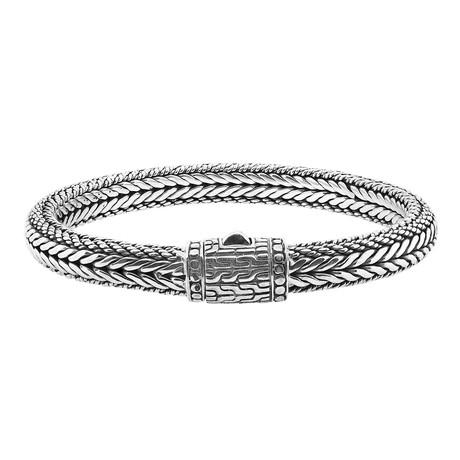 """Men's Silver Woven Bracelet (9"""")"""