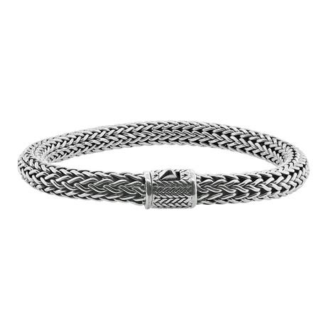 Men's Woven Tulang Naga Bracelet // 8mm // Silver