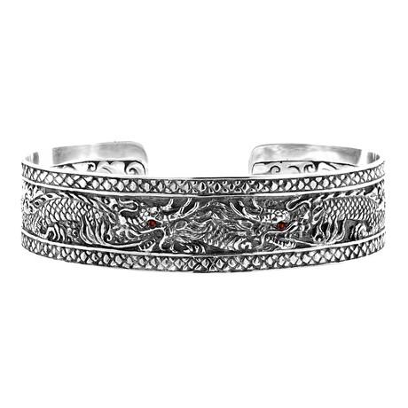 Men's Dragon Cuff Bracelet // Silver