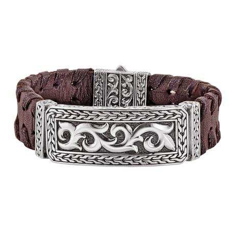 BroManse Silver Brown Leather Bracelet