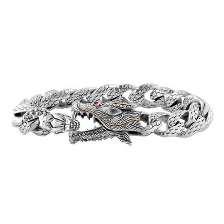 Men's Garnet Eyed Dragon Bracelet // Silver