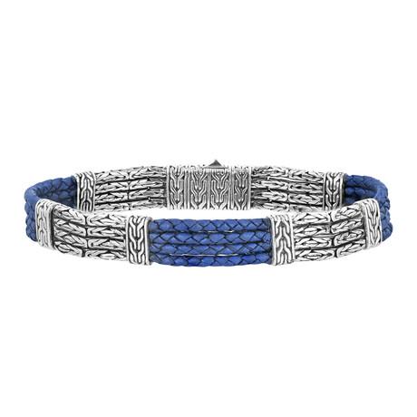 Men's Byzantine Chain + Leather Bracelet // Silver + Blue