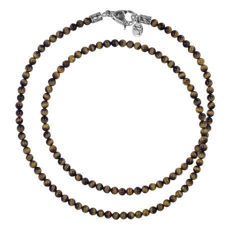 BroManse Silver Beaded Tiger's Eye Necklace