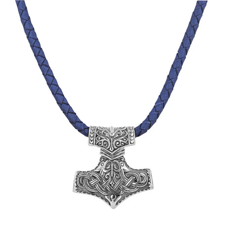 Men's Silver + Leather Viking Necklace // Blue