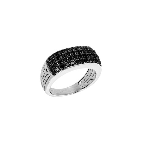 Silver Pave Spinel Ring // Black (9)