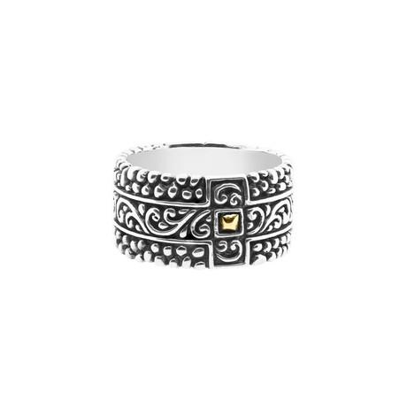 BroManse Silver + 18K Gold Scrollwork Ring (9)