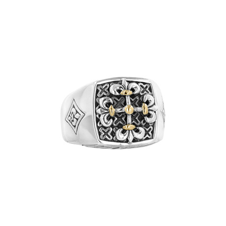 Men's Fleur-De-Lis Ring // Silver + Gold (9)