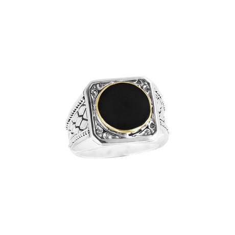 Men's Bali Bezel Ring // Silver + Black + 18K Gold (9)