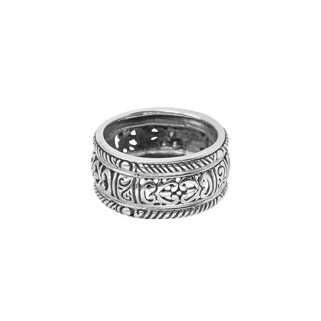 BroManse Silver Open Scroll Band Ring (9)