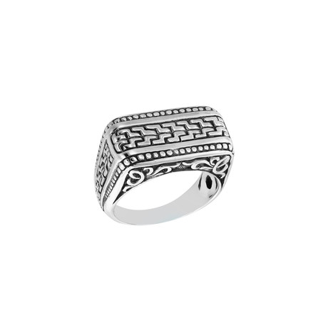 Men's Silver Patterned Ring (9)