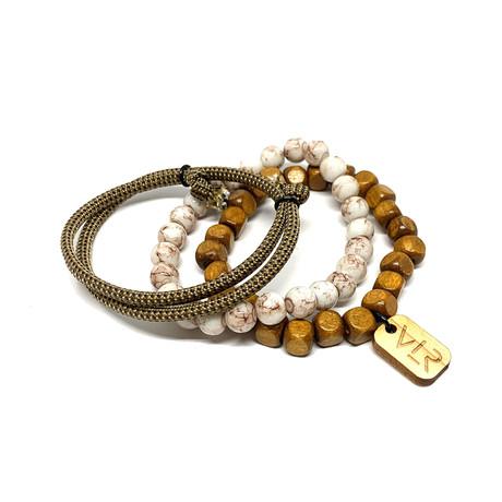 Square Bead Bracelet Set // Khaki