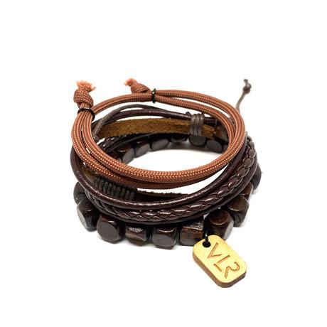 Square Bead Bracelet Set // Brown
