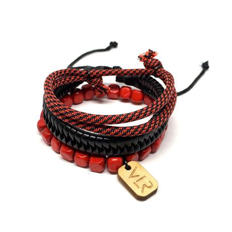 Square Bead Bracelet Set // Red + Black