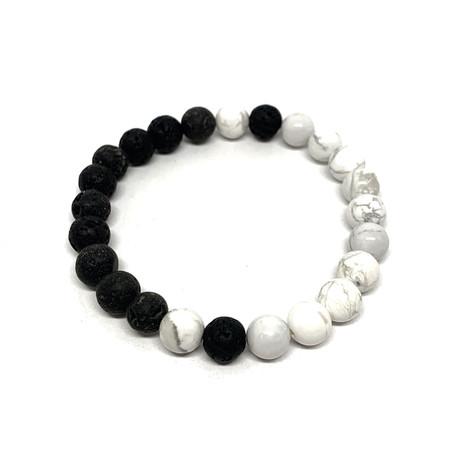 Healing Stone Balance Bracelet // Howlite + Lava Rock (Small)
