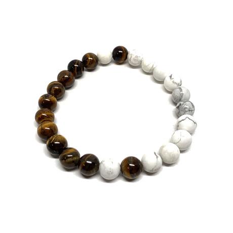 Healing Stone Balance Bracelet // Howlite + Tiger Eye (Small)