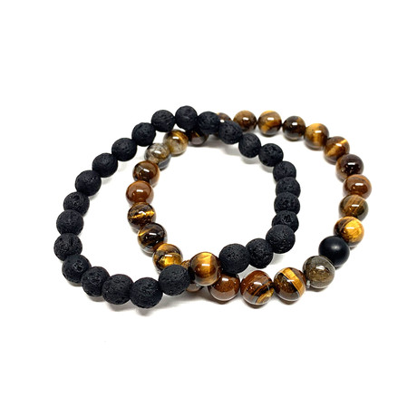 Healing Stone Piece Of Me // 2-Pack // Tiger Eye + Lava Rock (Small)