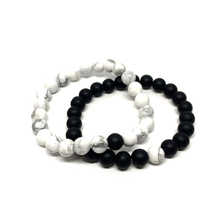 Healing Stone Piece Of Me // 2-Pack // Howlite + Onyx (Small)