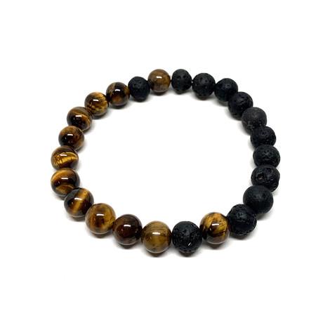 Healing Stone Balance Bracelet // Lava Rock + Tiger Eye (Small)