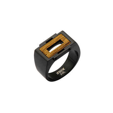 Stainless Steel Ebony Wood Ring // Black + Brown (Size: 9)