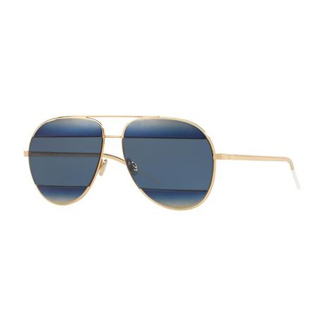 Unisex Split 1 Sunglasses // Gold + Blue