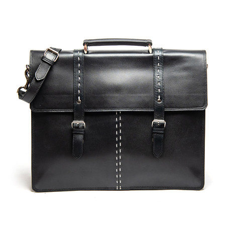 "Travel Leather Briefcase 17"" // Black"