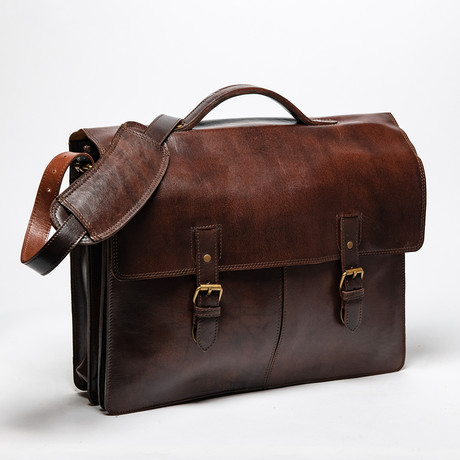 Complete Leather Briefcase // Antique Brown