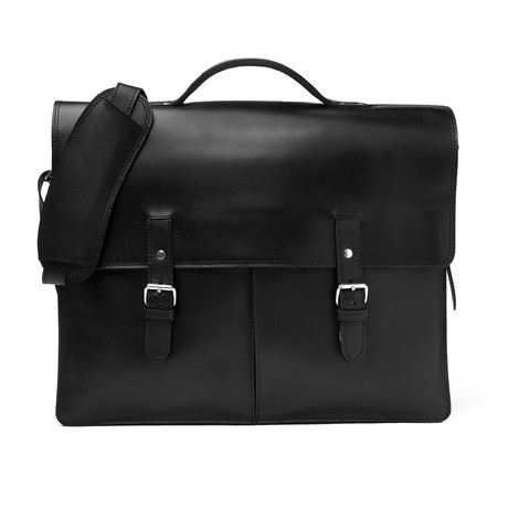 """Complete Leather Briefcase 17"""" // Black"""