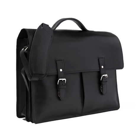 "Complete Leather Briefcase 17"" // Black"