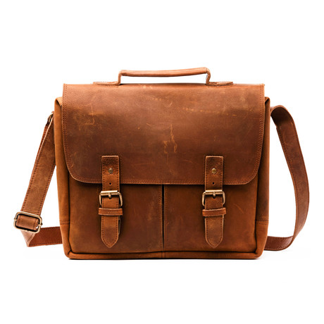 Coarse Leather Messenger Bag Limited // Distressed Brown