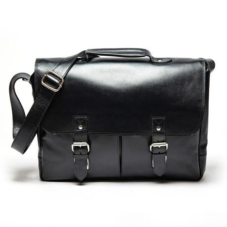 Medium Coarse Leather Messenger Bag Limited // Black