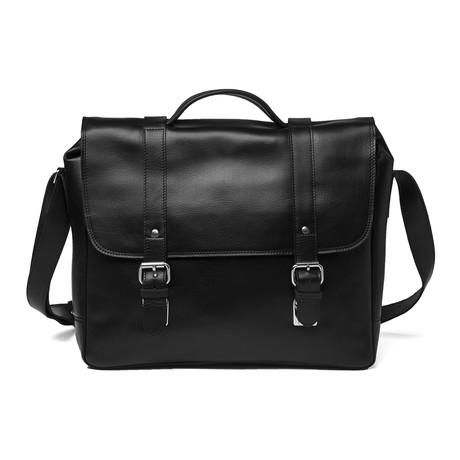 Large Coarse Leather Messenger Bag // Black