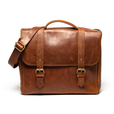 Coarse Leather Messenger Bag // Distressed Brown