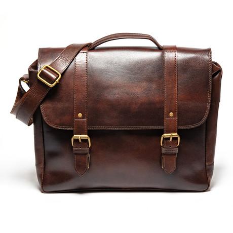 Coarse Leather Messenger Bag // Antique Brown