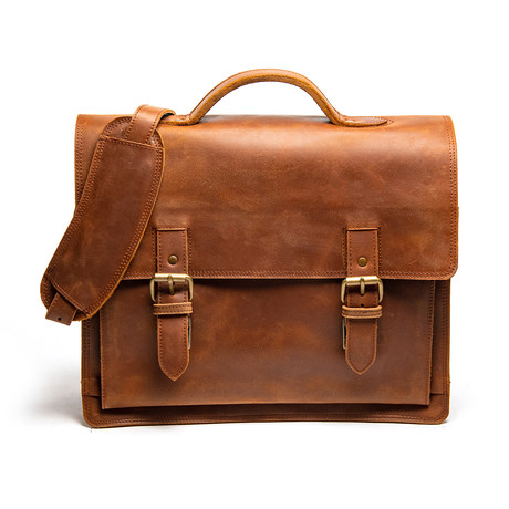 """Complete Leather Briefcase 14"""" // Distressed Brown"""