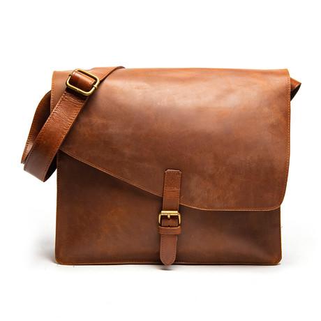 "Leather Messenger Laptop Bag 2.0 12"" // Distressed Brown"