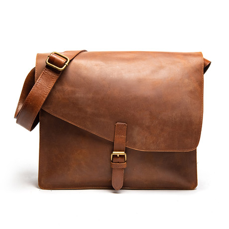 "Leather Messenger Laptop Bag 14"" // Saddle Brown"