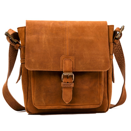 Distressed Leather Satchel With Pocket // Brown