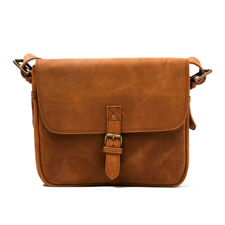 Distressed Leather Cross Body Messenger Bag Large // Brown
