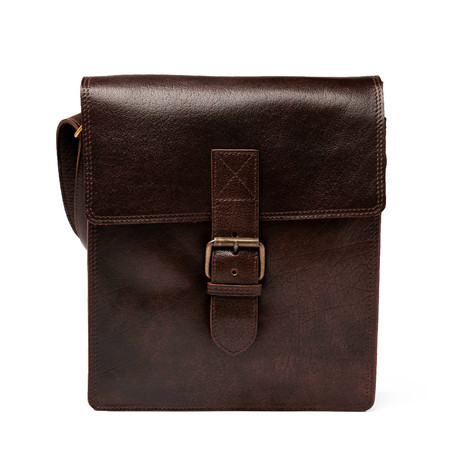 Small Travel Leather Satchel // Antique Brown