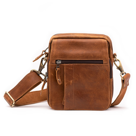 Travelers Leather Cross Body Bag // Saddle Brown