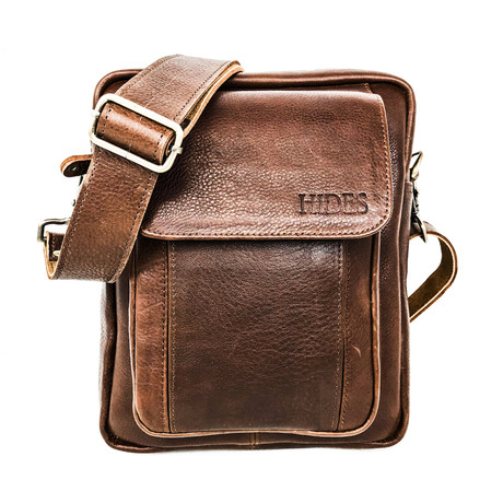 Travelers Leather Cross Body Bag // Pebbled Brown