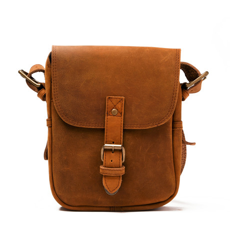 Distressed Leather Cross Body Messenger Bag // Brown