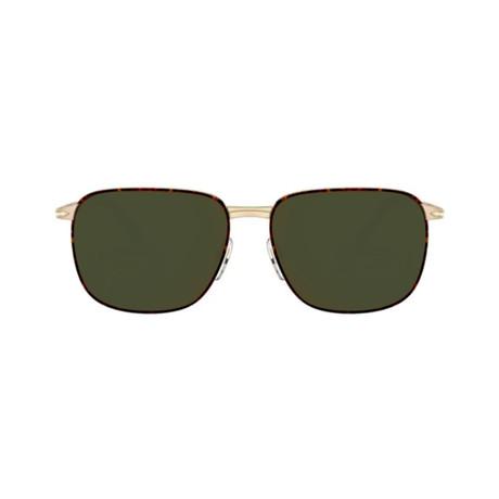 Men's Rectange Sunglasses // Gold Havana + Green