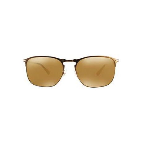 Men's Mirrored Rectangle Sunglasses // Matte Brown + Brown Mirror