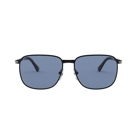 Men's Rectange Sunglasses // Semigloss Black + Gray