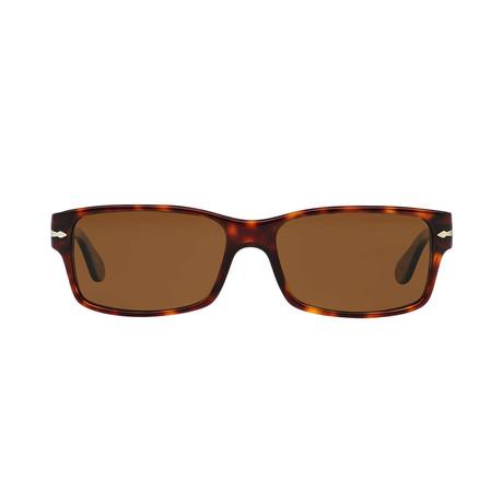 Men's Rectangle Polarized Sunglasses // Havana + Brown