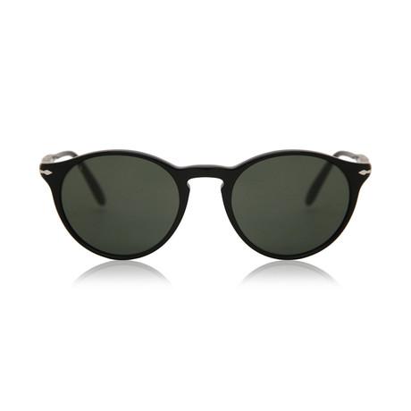 Men's Classic Round Sunglasses // Black + Green