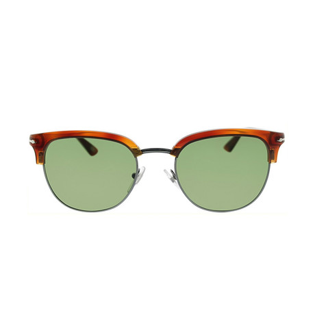 Men's Clubmaster Round Sunglasses // Havana + Green