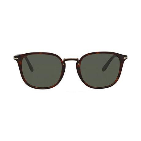 Men's Rectangle Combo Evolution Sunglasses // Havana + Green (51mm)