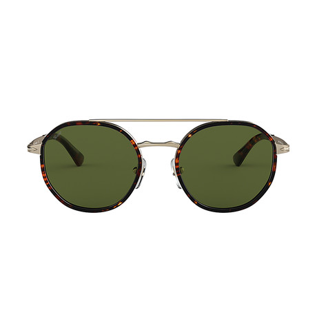 Men's Round Aviator Sunglasses // Gold Havana + Green